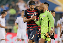 July 19, 2017 - Philadelphia, PA, USA - Philadelphia, PA - Wednesday July 19, 2017: Omar Gonzalez, Tim Howard during a 2017 Gold Cup match between the men's national teams of the United States (USA) and El Salvador (SLV) at Lincoln Financial Field. (Credit Image: © John Dorton/ISIPhotos via ZUMA Wire)