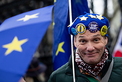 "© Licensed to London News Pictures. 17/12/2019. London, UK. Supporters of Anti-Brexit campaigner Steve Bray (also known as the ""Stop Brexit Man"") demonstrate in Westminster on the final official day of demonstration by the 'Stand of Defiance European Movement' (SODEM). Steve Bray started the group in September 2017 Photo credit : Tom Nicholson/LNP"