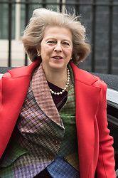 Downing Street, London, February 2nd 2016. Home Secretary Theresa May arrives at No 10 prior to attending the weekly Cabinet meeting. ///FOR LICENCING CONTACT: paul@pauldaveycreative.co.uk TEL:+44 (0) 7966 016 296 or +44 (0) 20 8969 6875. ©2015 Paul R Davey. All rights reserved.
