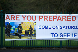 """© Licensed to London News Pictures . 19/01/2018 . Manchester , UK . A banner hung from railings in front of The Church of Jesus Christ of Latter-day Saints on the A560 Altrincham Road in Wythenshawe which references Salman Abedi's murderous terror attack on the Manchester Arena with the use of a photograph from the scene of the attack , alongside the words """" Are you prepared for possible disaster """" and the logo of the I Love Mcr charity . The banner features an invitation to visit the church """" To see if we can help"""" . Photo credit : Joel Goodman/LNP"""