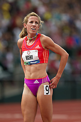 2012 USA Track & Field Olympic Trials: women's 1500 meters final, Morgan Uceny reacts to winning race to make Olympic team