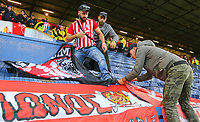 Olympiakos fans place their flags before the match<br /> <br /> Photographer Alex Dodd/CameraSport<br /> <br /> UEFA Europa League - UEFA Europa League Qualifying Second Leg 2 - Burnley v Olympiakos - Thursday August 30th 2018 - Turf Moor - Burnley<br />  <br /> World Copyright © 2018 CameraSport. All rights reserved. 43 Linden Ave. Countesthorpe. Leicester. England. LE8 5PG - Tel: +44 (0) 116 277 4147 - admin@camerasport.com - www.camerasport.com