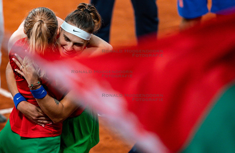 Kiki Bertens en Demi Schuurs in action in the match against Aryna Sabalenka en Aljaksandra Sasnovitsj in the double match against the Fed Cup qualifier Belarus at Sportcampus Zuiderpark, The Hague, Netherlands