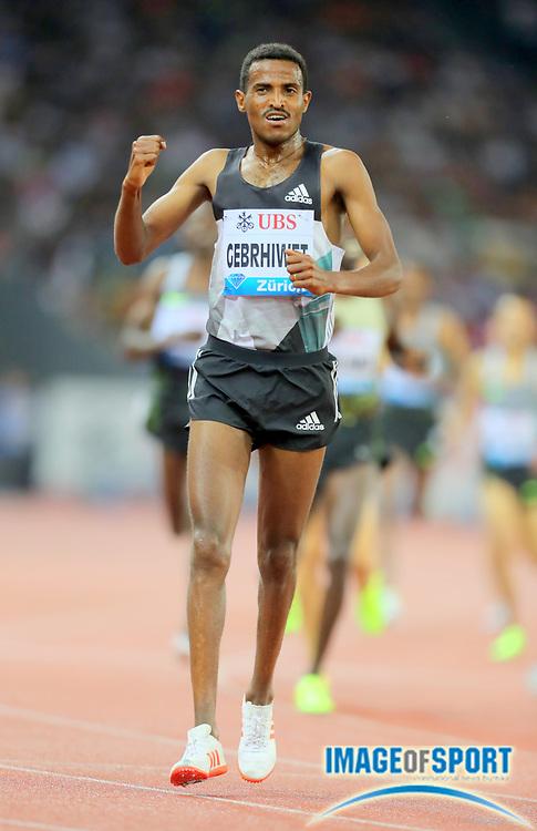 Sep 1, 2015; Zurich, SWITZERLAND; Hagos Gebrhiwet (ETH) celebrates after winning the 5,000m in 13:14.82 at the 2016 Weltklasse Zurich during an IAAF Diamond League meeting at Letzigrund Stadium. Photo by Jiro Mochizuki