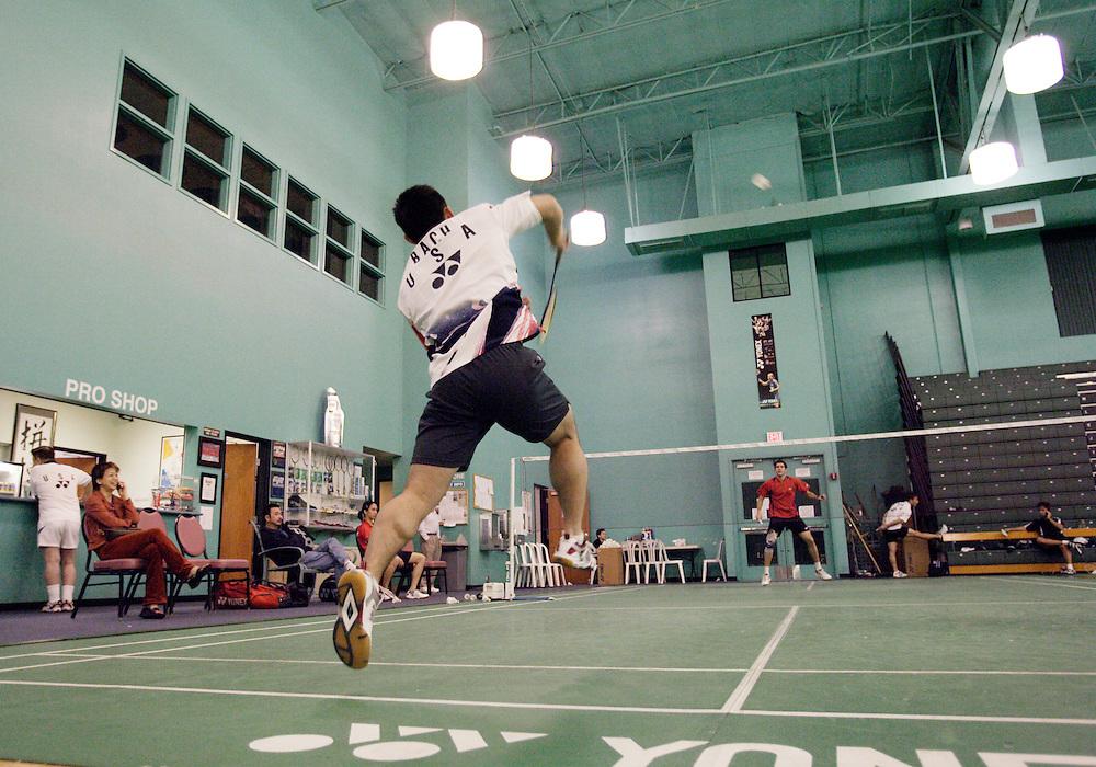 ORANGE, CA, January 3, 2008: Top badminton players, including Howard Bach,  train at the Orange County Badminton Club in Orange, California.