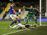 Fulham attacker Alex Kacaniklic (Kacaniklic) trying to keep the ball in play during the Sky Bet Championship match between Fulham and Ipswich Town at Craven Cottage, London, England on 15 December 2015. Photo by Matthew Redman.
