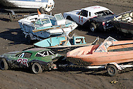 Wrecked boats block the track during the trailer races at the Antioch Speedway. The race was held on the final day of the Contra Costa County Fair in Antioch on Sunday, June 3, 2012.  (Photo by Kevin Bartram)