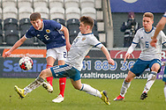 Russian Ilya Golyatov stretches to block the trough ball from Cameron Logan (Heat of Midlothian) during the U17 European Championships match between Scotland and Russia at Simple Digital Arena, Paisley, Scotland on 23 March 2019.