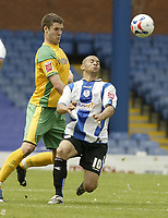 Photo: Aidan Ellis.<br /> Sheffield Wednesday v Norwich City. Coca Cola Championship. 06/05/2007.<br /> norwich's Jason Shackell (L) puts Sheffield's Deon Burton under pressure