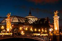 Pont Alexandre III (bridge) with the Grand Palais behind, Paris, France.