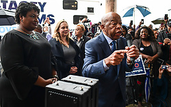 November 2, 2018 - Macon, Georgia, US - Georgia candidate for governor STACEY ABRAMS and congressman JOHN LEWIS (D-GA) lead a get-out-the-vote rally in Macon Friday. The state's race for governor is one of the most high-profile elections taking place Tuesday, with Abrams, aiming to become the nation's first black woman governor, statistically tied in polls with the Trump-endorsed Republican, B. Kemp. (Credit Image: © Miguel Juarez Lugo/ZUMA Wire)