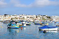 Fishing boats moored at in Marsaxlokk