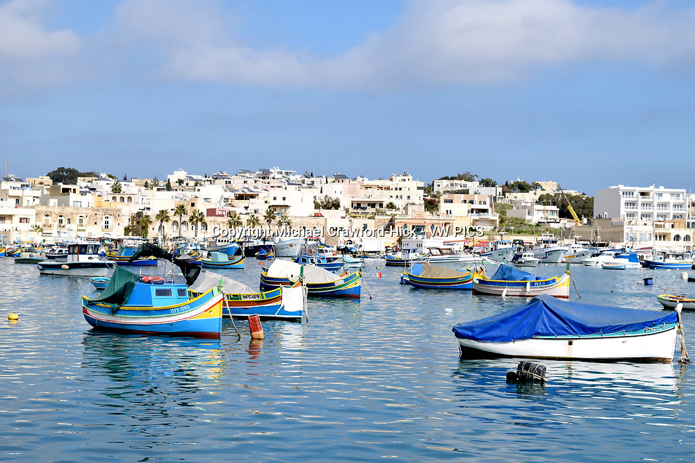Fishing boats moored at in Marsaxlokk