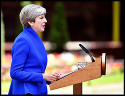 June 9, 2017 - London, England, United Kingdom - The Prime Minister THERESA MAY makes a statement in Downing Street after the 2017 General Election results. Theresa May vowed to fight on today despite suffering catastrophic losses as her election gamble backfired. (Credit Image: © Andrew Parsons/i-Images via ZUMA Press)