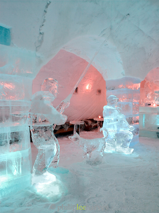 Ice sculptures at an ice hotel at Alta, Finnmark region, northern Norway