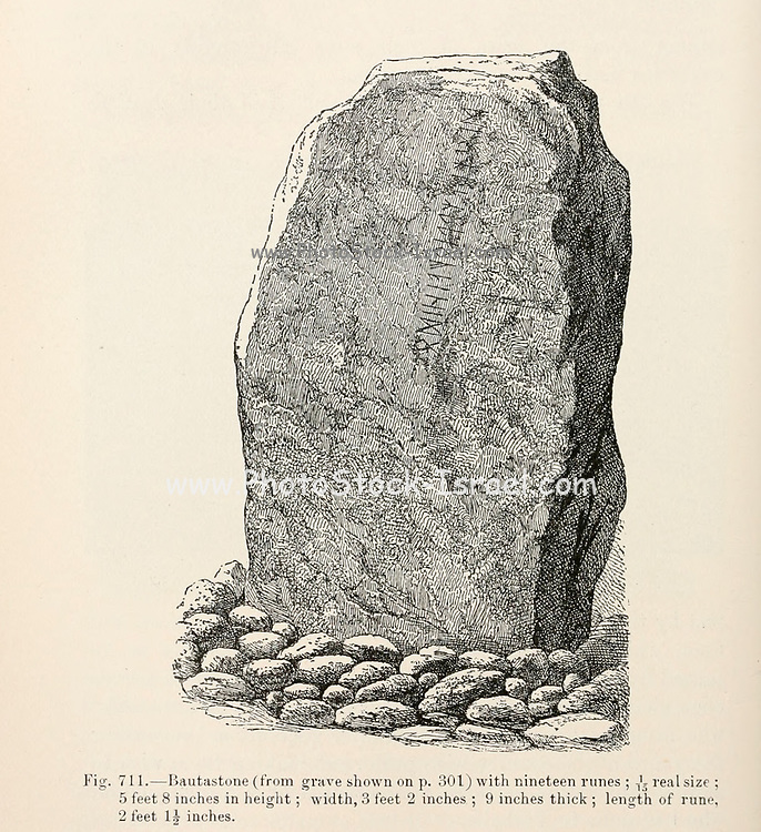 Bautastone (Menhir) at a Viking Burial site from the book '  The viking age: the early history, manners, and customs of the ancestors of the English speaking nations ' by Du Chaillu, (Paul Belloni), 1835-1903 Publication date 1889 by C. Scribner's sons in New York,