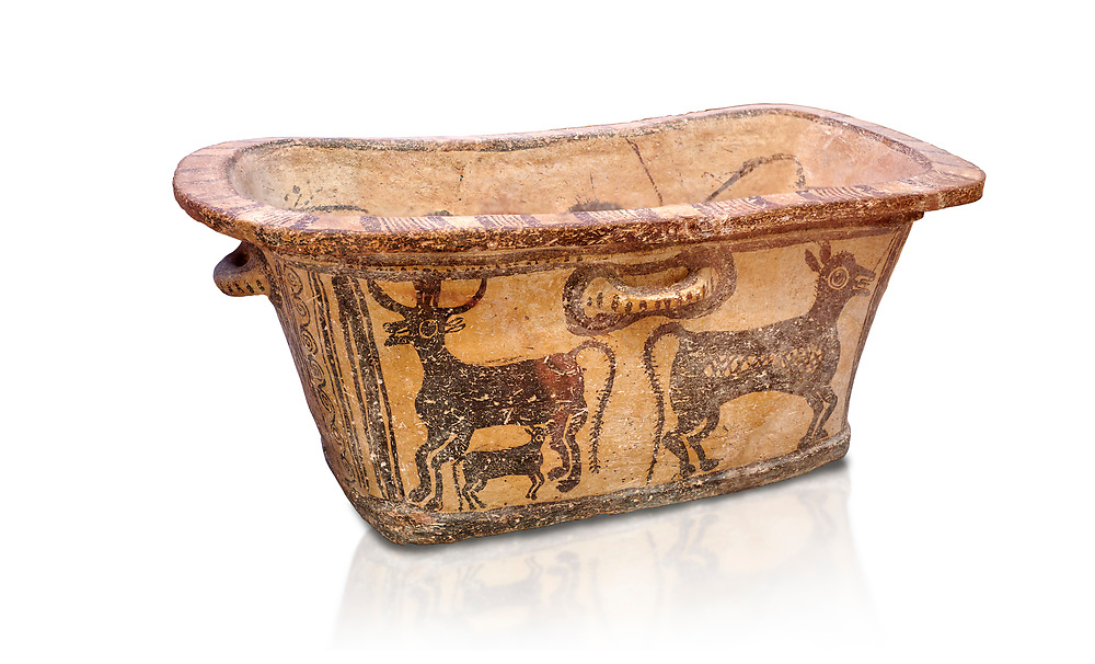 Minoan  pottery bath tub  larnax decorated with a cow nursing a calf,  Episkopi-Lerapetra 1350-1250 BC, Heraklion Archaeological  Museum, white background.<br /> <br /> To the Greeks, the Underworld was entered by water. As with many other Minoan bathtubs, this one was probably later used as a coffin to convey the deceased across the sea, where marine imagery would be equally appropriate. The two functions of bathtubs, bathing and burial, combine in the story of Agamemnon who, on return from Troy, was murdered by his wife and her lover in a silver bath. .<br /> <br /> If you prefer to buy from our ALAMY PHOTO LIBRARY  Collection visit : https://www.alamy.com/portfolio/paul-williams-funkystock/minoan-art-artefacts.html . Type -   Heraklion   - into the LOWER SEARCH WITHIN GALLERY box. Refine search by adding background colour, place, museum etc<br /> <br /> Visit our MINOAN ART PHOTO COLLECTIONS for more photos to download  as wall art prints https://funkystock.photoshelter.com/gallery-collection/Ancient-Minoans-Art-Artefacts-Antiquities-Historic-Places-Pictures-Images-of/C0000ricT2SU_M9w
