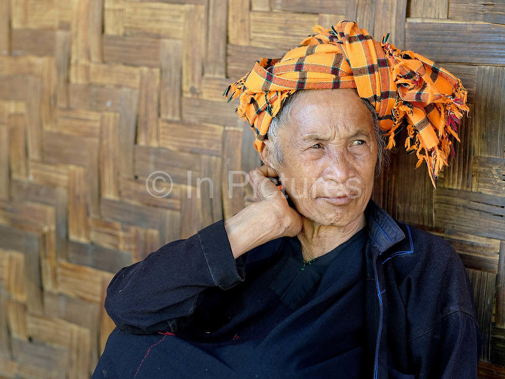 Portrait of Daw An, an elderly PaO ethnic minority woman in Kone Soth village in Kayah State, Myanmar on 18th November 2016. Myanmar is one of the most ethnically diverse countries in Southeast Asia with 135 different indigenous ethnic groups with over a dozen ethnic Karenni subgroups in the Kayah region