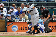April 30, 2008:  First basemen Kevin Millar #30 of the Toronto Blue Jays bat shatters during an at bat during the fourth inning against the Kansas City Royals at Kauffman Stadium in Kansas City, Missouri.  The Royals defeated the Blue Jays 8-6...