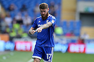 Aron Gunnarsson of Cardiff city makes his point. EFL Skybet championship match, Cardiff city v Reading at the Cardiff city stadium in Cardiff, South Wales on Saturday 27th August 2016.<br /> pic by Andrew Orchard, Andrew Orchard sports photography.