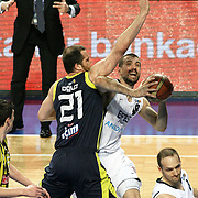 Efes Pilsen's Nikola VUJCIC (C) during their Turkish Basketball league derby match Efes Pilsen between Fenerbahce Ulker at the Sinan Erdem Arena in Istanbul Turkey on Sunday 24 April 2011. Photo by TURKPIX