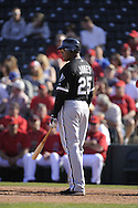 TEMPE, AZ - MARCH 4:  Andruw Jones #25 of the Chicago White Sox looks on against the Los Angeles Angels on March 4, 2010 at Tempe Diablo Stadium in Tempe, Arizona. (Photo by Ron Vesely)
