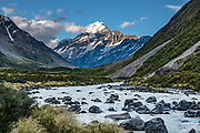 Seen along the Hooker Valley Track, in Aoraki / Mount Cook National Park, Canterbury region, South Island, New Zealand. In 1990, UNESCO honored Te Wahipounamu - South West New Zealand as a World Heritage Area.