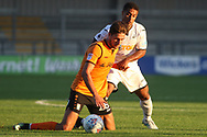 Wayne Routledge of Swansea city (R) fouls Dan Sweeney of Barnet (L). Pre-season friendly match, Barnet v Swansea city at the Hive in London on Wednesday 12th July 2017.<br /> pic by Steffan Bowen, Andrew Orchard sports photography.