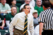 SHOT 1/28/12 3:30:51 PM - Colorado State University head basketball coach Tim Miles questions a call by an official during their regular season Mountain West conference game against San Diego State at Moby Arena in Fort Collins, Co. Colorado State upset 12th ranked San Diego State 77-60. (Photo by Marc Piscotty / © 2012)