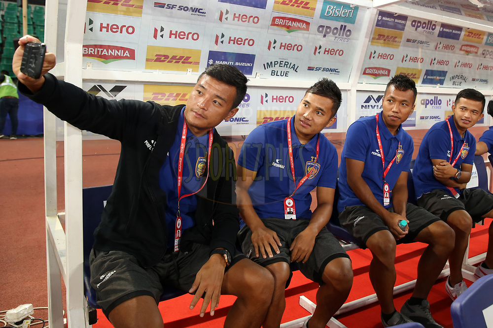 Chennaiyin FC players arrive before the start of the match 27 of the Hero Indian Super League 2018 ( ISL ) between Chennaiyin FC  and Mumbai City FC  held at the Jawaharlal Nehru Stadium, Chennai, India on the 3rd November 2018<br /> <br /> Photo by: Faheem Hussain /SPORTZPICS for ISL