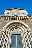 12th century Roamesque Portal on the facade of the 8th century Romanesque Basilica church of St Peters, Tuscania, Lazio, Italy .<br /> <br /> Visit our ITALY PHOTO COLLECTION for more   photos of Italy to download or buy as prints https://funkystock.photoshelter.com/gallery-collection/2b-Pictures-Images-of-Italy-Photos-of-Italian-Historic-Landmark-Sites/C0000qxA2zGFjd_k
