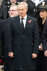 © Licensed to London News Pictures. 12/11/2017. London, UK. Former British Prime Minister TONY BLAIR attends a Day Ceremony at the Cenotaph war memorial in London, United Kingdom, on November 13, 2016 . Thousands of people honour the war dead by gathering at the iconic memorial to lay wreaths and observe two minutes silence. Photo credit: Ray Tang/LNP