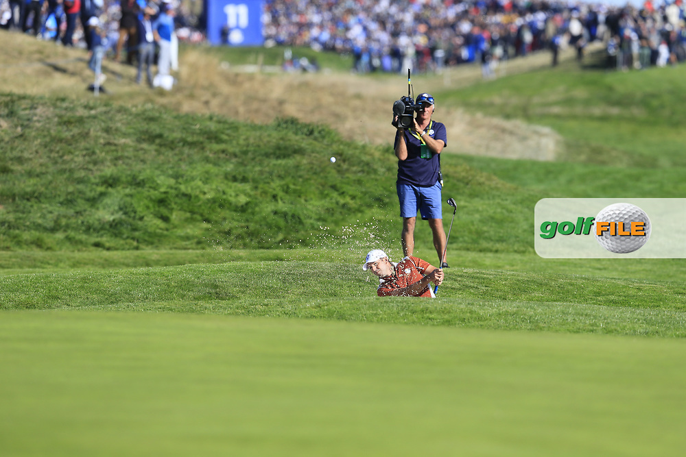 Sergio Garcia (Team Europe) chips from a bunker at the 9th green during Saturday's Foursomes Matches at the 2018 Ryder Cup 2018, Le Golf National, Ile-de-France, France. 29/09/2018.<br /> Picture Eoin Clarke / Golffile.ie<br /> <br /> All photo usage must carry mandatory copyright credit (© Golffile   Eoin Clarke)