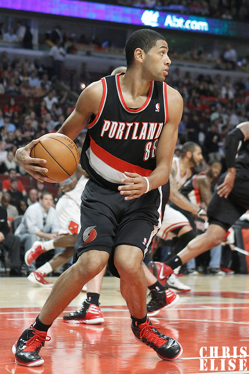 16 March 2012: Portland Trail Blazers small forward Nicolas Batum (88) is seen during the Portland Trail Blazers 100-89 victory over the Chicago Bulls at the United Center, Chicago, Illinois, USA.