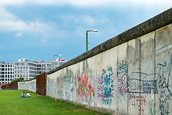 Graffiti on former Berlin Wall at Berlin Wall memorial park at Bernauer Strasse in Berlin, Germany