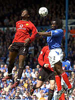 Photo. Richard Lane, Digitalsport..<br /> Portsmouth v Manchester United. FA Barclaycard Premiership. 17/04/2004.<br /> Linvoy Primus gets above Louis Saha to the ball.