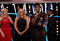 England Netball's Ama Agbeze speaks after winning the Team of the Year Award during the BBC Sports Personality of the Year 2018 at Birmingham Genting Arena.