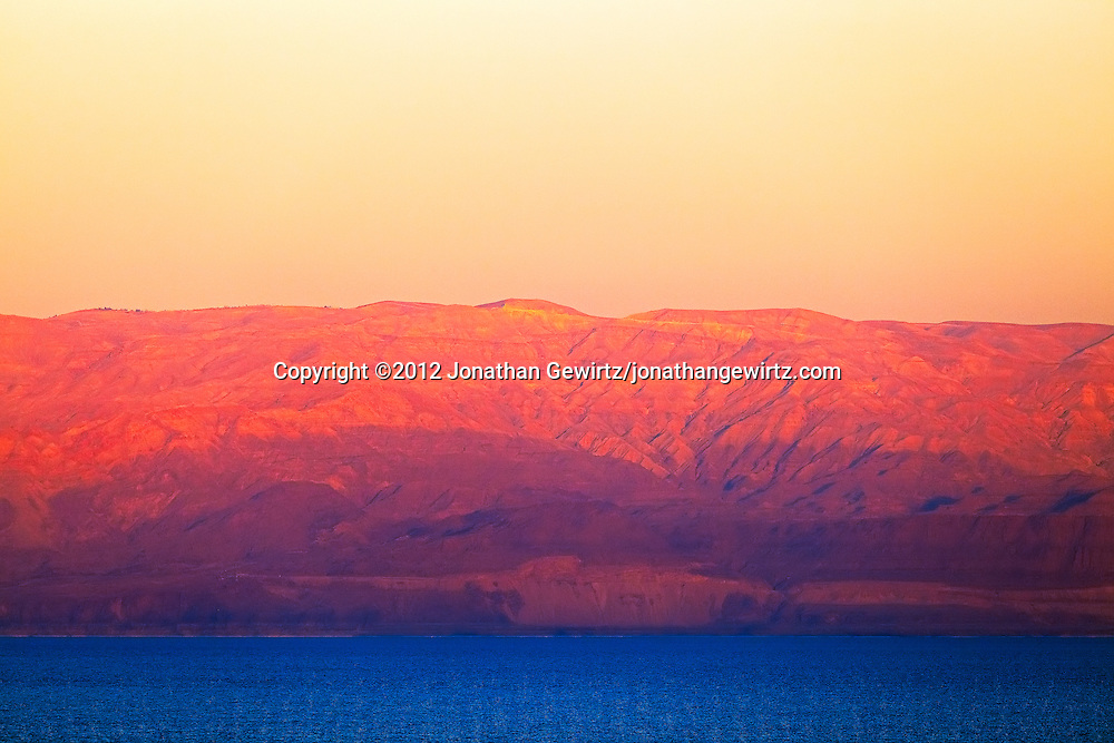 Sunset light on the Mountains of Moab on the eastern side of the Dead Sea. WATERMARKS WILL NOT APPEAR ON PRINTS OR LICENSED IMAGES.
