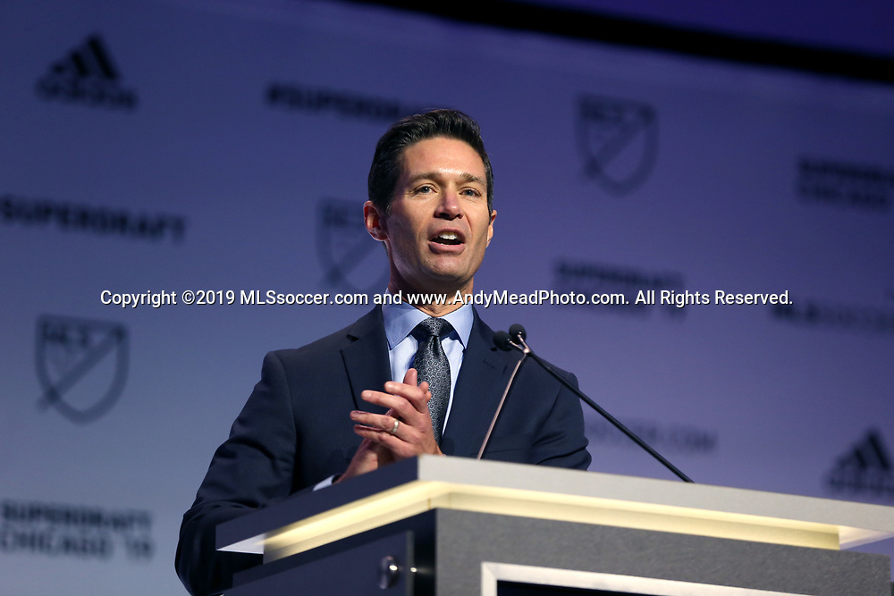 CHICAGO, IL - JANUARY 11: MLS executive vice president of communications Dan Courtemanche. The MLS SuperDraft 2019 presented by adidas was held on January 11, 2019 at McCormick Place in Chicago, IL.