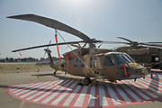 An Israeli Air force (IAF) exhibition. IAF helicopter, Sikorsky S-70 UH-60 Black Hawk on the ground