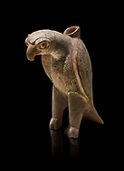Bronze Age Anatolian terra Cotta eagle shaped ritual vessel - 19th to 17th century BC - Kültepe Kanesh - Museum of Anatolian Civilisations, Ankara, Turkey.  Against a black background. .<br /> <br /> If you prefer to buy from our ALAMY PHOTO LIBRARY  Collection visit : https://www.alamy.com/portfolio/paul-williams-funkystock/kultepe-kanesh-pottery.html<br /> <br /> Visit our ANCIENT WORLD PHOTO COLLECTIONS for more photos to download or buy as wall art prints https://funkystock.photoshelter.com/gallery-collection/Ancient-World-Art-Antiquities-Historic-Sites-Pictures-Images-of/C00006u26yqSkDOM