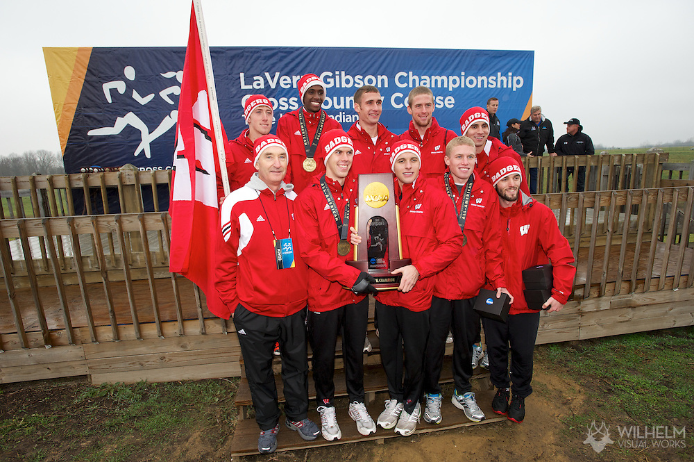 21 NOV 2011: The University of Wisconsin celebrates their national title following the Division I Men's Cross Country Championship held at the Wabash Valley Family Sports Center in Terre Haute, IN. University of Wisconsin won the team national title. © Brett Wilhelm