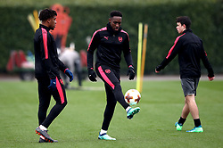 Arsenal's Danny Welbeck (centre) during the training session at London Colney, Hertfordshire.
