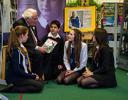 Edinburgh's Bailie Elaine Aitken opened FirrhillHigh School's 'The Anne Frank: A History For Today' exhibition  today. Baillie Aitken was joined by Heather Boyce from the Anne Frank Trust and second generation Holocaust survivors who spoke of their family members' memories of the war. The ceremony was attended by pupils from Firrhill High, local primary schools and retirement home residents from Old Farm Court and Caiystane Court. Stephan Brent, who was one of the 10,000 children sent to the UK as part of the Kindertransport, spoke movingly of his experience of arriving in Scotland to old and u=young alike. 29 April 2014 (c) GER HARLEY | StockPix.eu
