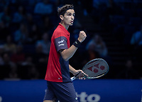 Tennis - 2019 Nitto ATP Finals at The O2 - Day Eight<br /> <br /> Doubles Final : Pierre-Hugues Herbert (FRA) & Nicolas Mahut (FRA) Vs. Raven Klaasen (RSA) & Michael Venus (NZL)<br /> <br /> Pierre-Hugues Herbert (FRA) with a quiet celebration as his team closes in on victory <br /> <br /> COLORSPORT/DANIEL BEARHAM