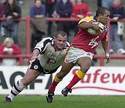 © Intersport Images .Photo Peter Spurrier.12/05/2002.Sport - Rugby League.London Broncos vs Widnes Vikings.Dennis Moran....