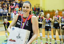 MVP Iza Mlakar of Nova KBM Branik celebrates after winning during volleyball match between Nova KBM Branik Maribor and OK Luka Koper in Final of Women Slovenian Cup 2014/15, on January 18, 2015 in Sempeter v Savinjski dolini, Slovenia. Photo by Vid Ponikvar / Sportida