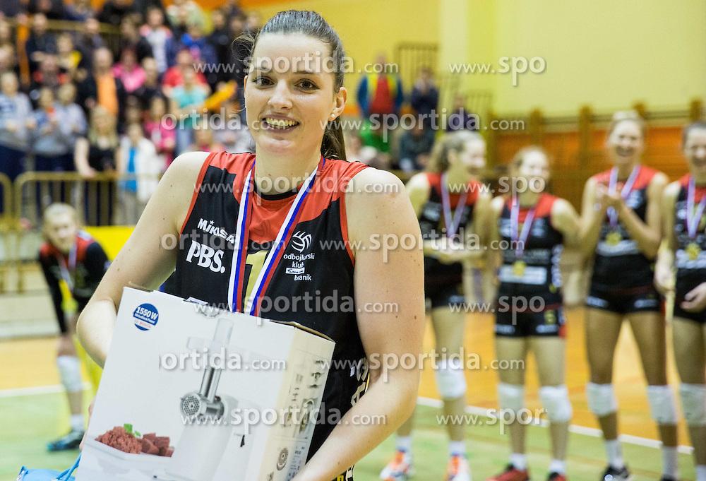 MVP Iza Mlakar of Nova KBM Branik celebrates after winning during volleyball match between Nova KBM Branik Maribor and OK Luka Koper in Final of Women Slovenian Cup 2014/15, on January 18, 2015 in Sempeter v Savinjski dolini, Slovenia. Photo by Vid Ponikvar / Sportida