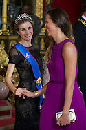 Queen Letizia of Spain and Amaia Valdemoro attended a Gala Dinner in honour of Chilean President during her State Visit at Palacio Real on October 29, 2014 in Madrid