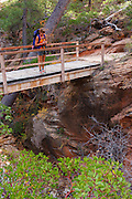 Backpacking the West Rim Trail, Zion National Park, Utah.  (model released)
